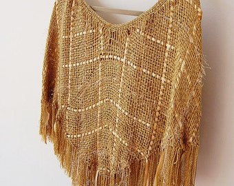 Handweaved golden glamorous poncho ready to ship