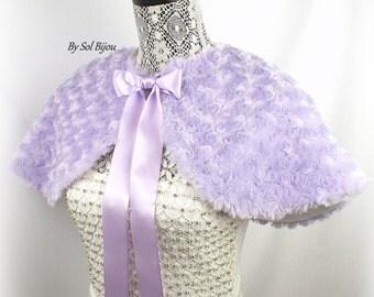 Wedding Cape, Lilac Cape, Lilac, Faux Fur Cape, Bridal Cape, Shrug, Shawl, Church Cover, Bolero, Capelet, Elegant, Vintage Style, Gatsby