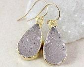 50 OFF SALE Pastel Purple Druzy Earrings - Teardrop - Choose Your Druzy