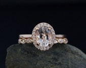 VALENTINES DAY SALE Morganite Engagement Ring – Set of 2 –MIligrain Wedding Band
