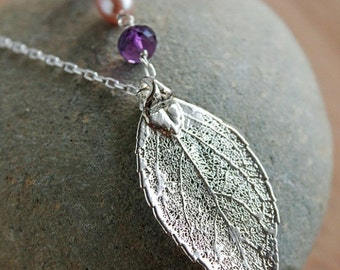 25% OFF 50 Percent OFF Silver Dipped Evergreen Leaf Necklace - Long Leaf Necklace - Amethyst, Chalcedony