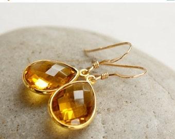 25% OFF Gold November Citrine Gemstone Earrings - November Birthstone - Honey Drops