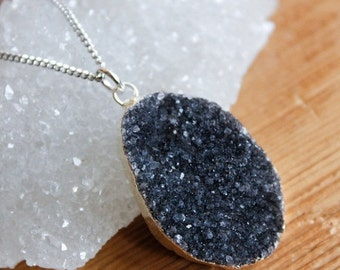 50 OFF SALE Silver Black Druzy Necklace - Choose Your Stone - 925 Silver, Free Form