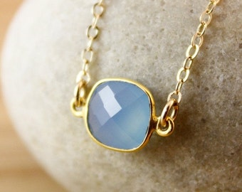 CLEARANCE SALE Mini Bezel Connector Necklace - Gemstone Necklace - Choose Your Gemstone