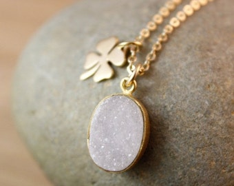 Gold White Druzy Necklace - Four Leaf Clover Charm - Lucky Charm Necklace