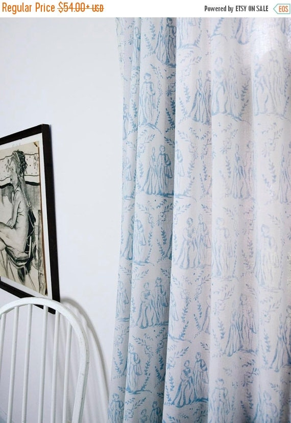 Window Curtains Blue Toile 50 Off Cotton Window Curtain