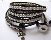 SALE Cross Silver Pewter Beaded Leather Wrap Bracelet