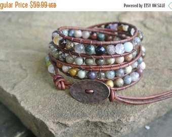 30% OFF SALE Pomona Jasper Beaded Leather Wrap Bracelet