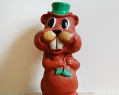 Vintage Beaver Toy Plastic Bank by Reliable of Canada Collectible Piggy Bank 1970s.
