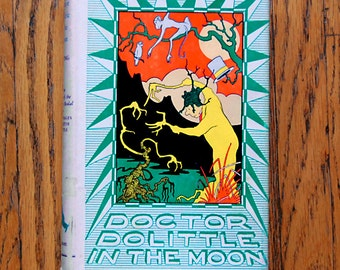 Vintage Dr Dolittle Book Hardcover Doctor Dolittle In the Moon 1956 Edition with Animals.