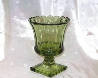 Pretty Olive Green Glass Flower Vase