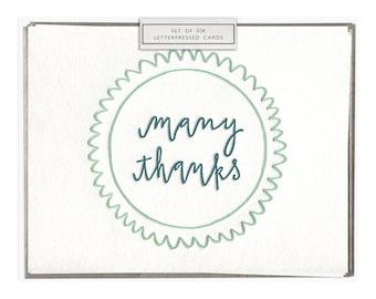 Many Thanks letterpress card - set of six