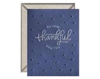 So Very Thankful letterpress card
