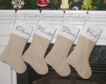 LINEN STOCKING ... Personalized Christmas Stockings ... Personalized stocking ... embroidered stocking .. Customized Stocking