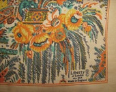 Vintage Liberty of London Square Silk Scarf - Eastern Style Design - Pagodas, Flowers - Orange, Brown Colourway