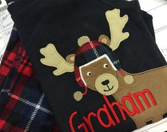 Personalized Boys Reindeer Christmas Pajamas - Personalized Boys Pajamas - Reindeer Pajamas