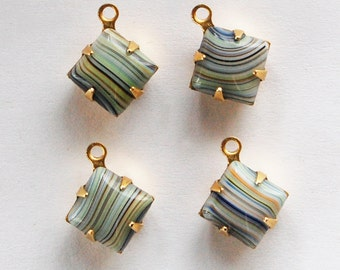 Vintage Striped Glass Pendant Beads 4 Square Glass Bead 8mm