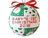 Red and Green Baby's 1st Christmas 2016 Ornament Child's Quilted Gift Idea Handmade Tree Decoration Home Decor  by CraftCrazy4U