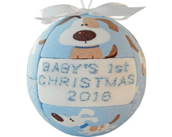 Blue Babys 1st Christmas 2016 Ornament Childs Quilted Gift Idea Handmade Tree Decoration Holiday Home Decor  ReadyTo Ship by CraftCrazy4U