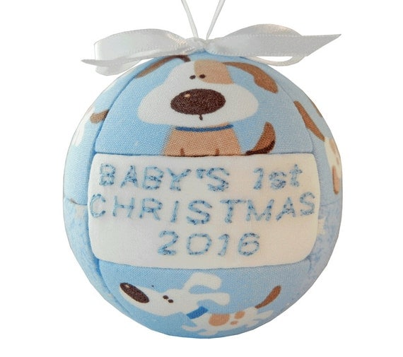 Items similar to blue babys 1st christmas 2016 ornament for Babys first christmas decoration
