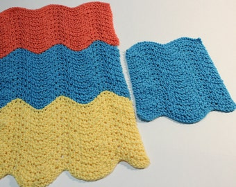 Knitting Pattern, Knit Patterns for Dishcloths, Knitted Dish Towel Pattern, Cotton Yarn Pattern, Easy to Knit Dish Towel and Dishcloth