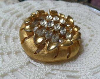 Vintage Mint ESTATE Crystal Marquise Rhinestone Brooch Signed BSK FREE Shipping