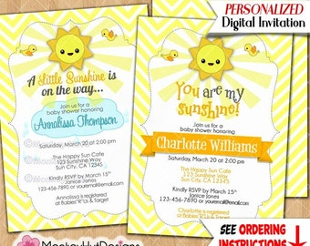 Little Ray of Sunshine Baby Shower Invitations Chevron Yellow and & Gray Grey Sun Boy Boys Neutral personalized DIGITAL INVITATION #161