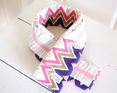 Ruffled Fabric Camera Strap - Pink, Coral, and Royal Blue Chevron with Gold and Off White Ruffle