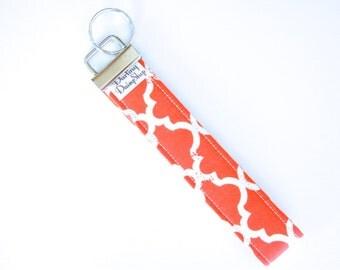 Fabric Key Fob - Orange Quatrafoil