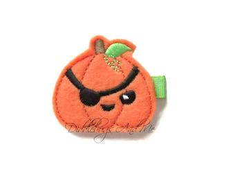 Pirate Pumpkin Hair Clip, Pumpkin Hair Clip, Girls Hair Clip, Halloween Hair Clip, Orange Pumpkin Hair Clip, Fall Hair Clips For Girls