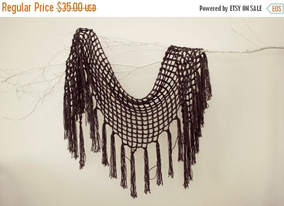 ON SALE Crochet Shawls Triangle Scarf Knit Shawl Wrap Shawl Wedding Shawl Fishnet Shawl Scarf Christmas Gift Gift For Her Winter Accessories