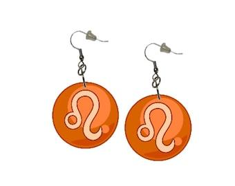 Zodiac Earrings Leo Dangle Earrings Astrology Earrings Zodiac Symbol Leo