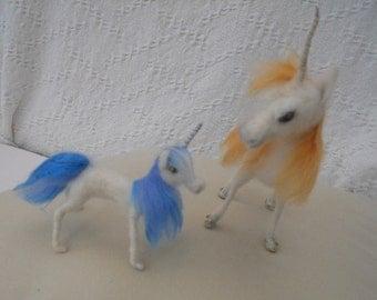 Needle Felted Unicorn Waldorf Baby Unicorn Magical Unicorn Fantasy White Blue Unicorn Nature table Hand Made Sculpture Fairy Fantasy unicorn