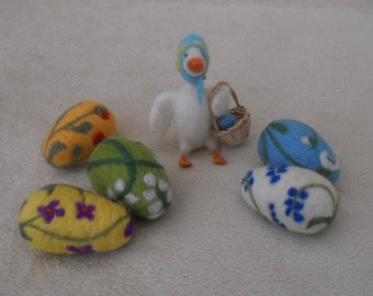 A little white goose delivers her Easter Eggs A Needle Felted Gift