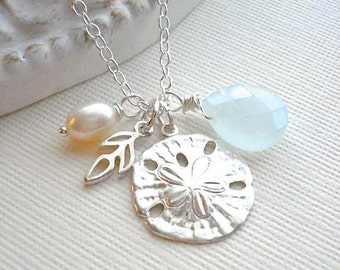 Sand Dollar Necklace In Sterling Silver. Mediterranean Jewelry, Charm, Sand Dollar Pendant, Gift Under 50, Aquamarine, Beach Wedding