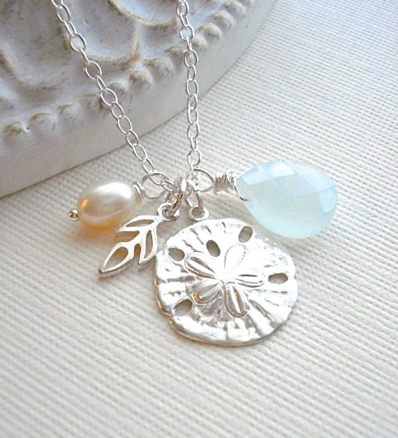 Sterling Silver Sand Dollar Necklace, Mediterranean Jewelry, Charm Necklace, Sand Dollar Pendant, Gift for Her, Nautical Beach Wedding