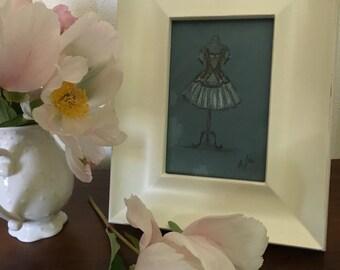 Ballet Tutu Original Drawing.  4x5 inches. Framed.