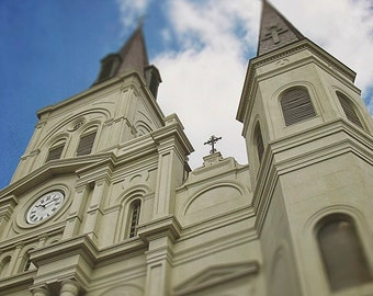 """New Orleans St. Louis Cathedral Photograph """"Towering"""" French Quarter Photography Print Jackson Square Louisiana Mardi Gras."""