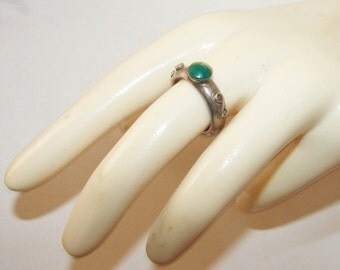 Free Shipping Malachite Sterling Silver Signed Thick Vintage Mexico Ring Band