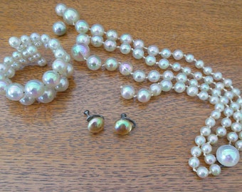 Vintage AB Double Strand Necklace Bracelet and Earrings - Silver
