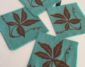 Pretty vintage mid century cloth napkins in teal and brown -- vintage dinner party