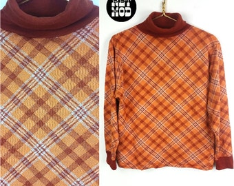 Vintage 70s Burnt Orange Plaid SOFT COTTON Mock Turtleneck Top by Continental Club!
