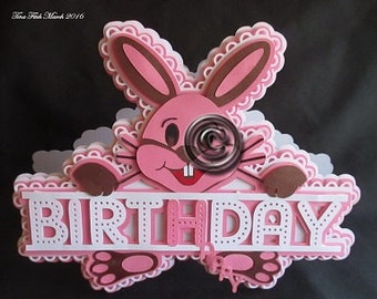 Happy BD Rabbit card Cutting File, Dxf,Silhouette,SVG,MTC,ScanNCut,Scal,Cricut,Design space