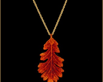 Real Oak Leaf Dipped In Iridescent Copper Pendant With Gold Chain - Real Dipped Leaf - In Gift Box