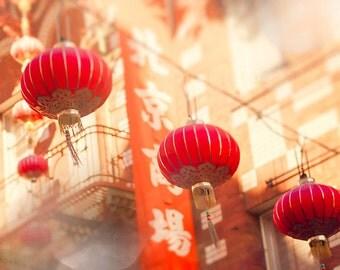 Chinese Lanterns, San Francisco Image, Urban Wall Art Print, decor, red art, for walls, Chinatown, San Fran, office decor, California  art