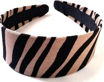 Black Khaki Zebra Print Headband 2 Inch