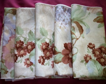 """5  colorful Napkins 18"""" x18"""" Shabby  Cottage Chic"""