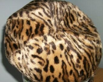 Leopard Faux Fur Beret woman's hat  animal print  Retro Mod 60s + Scarf