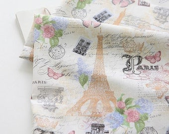 Lovely Butterfly and Eiffel on cotton, U316