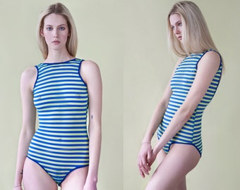 Mesh Striped Sleeveless Royal Blue & Neon Green Bodysuit
